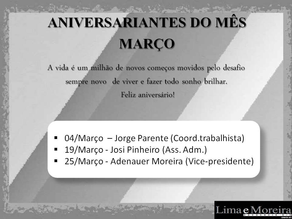 Aniversários Futuro MARÇO 2019